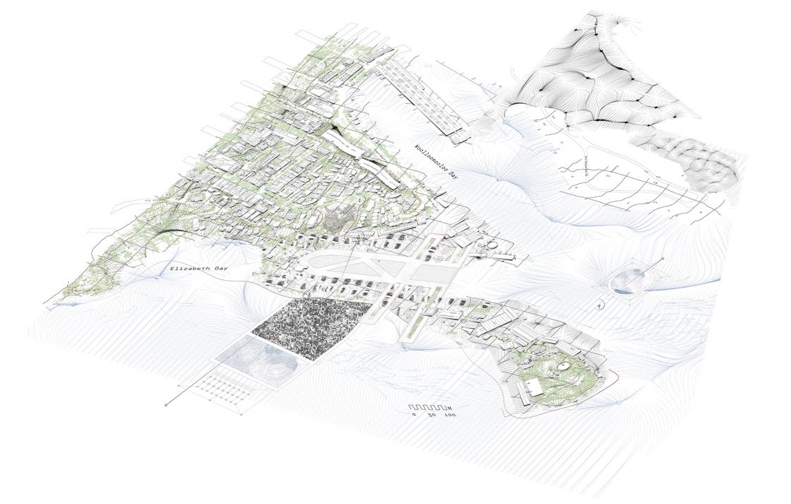 Landscape architecture drawing of Elizabeth Bay and Woolloomooloo Bay