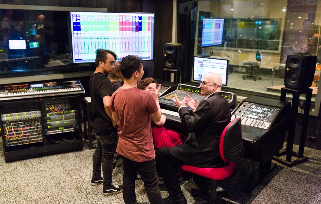 Students in the one of the recording studios