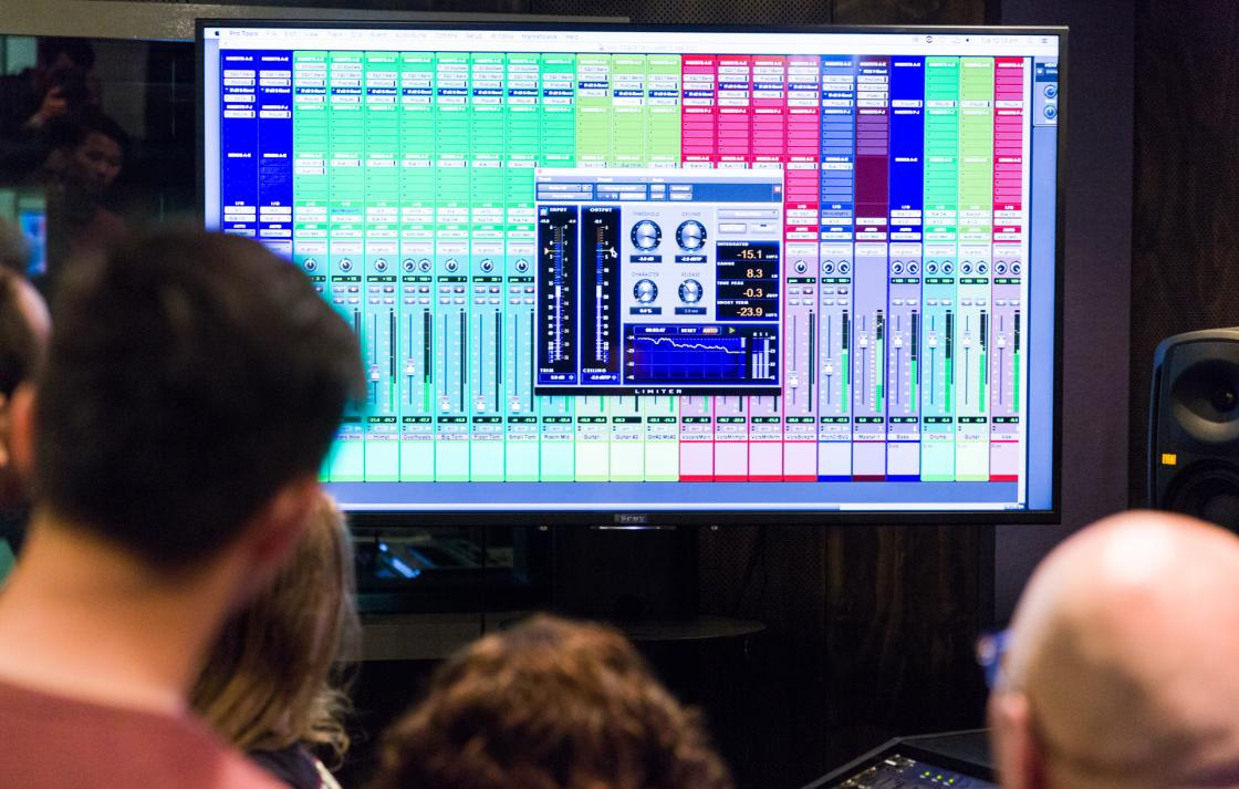 A television screen with Pro Tools displayed