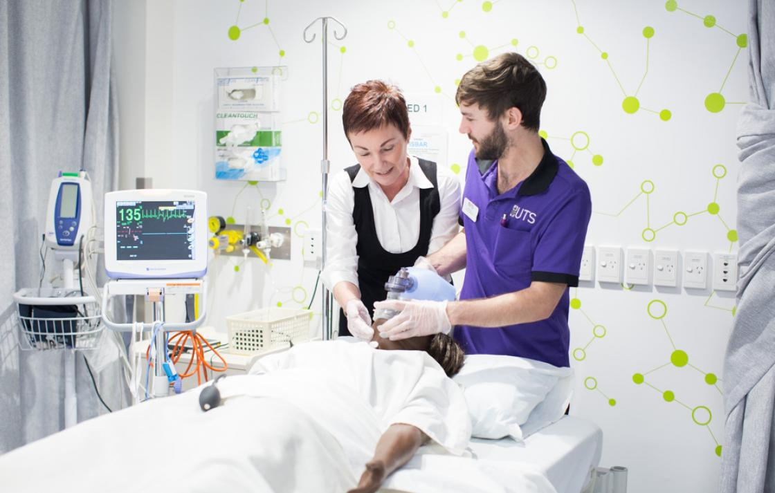 Bachelor of Nursing students using the tools in a simulated hospital environment