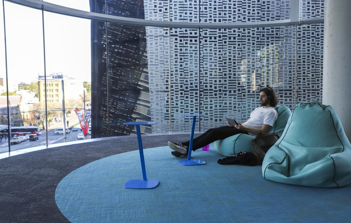UTS Central student at beanbags