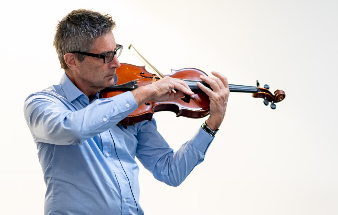 Prof Tony Dooley playing violin