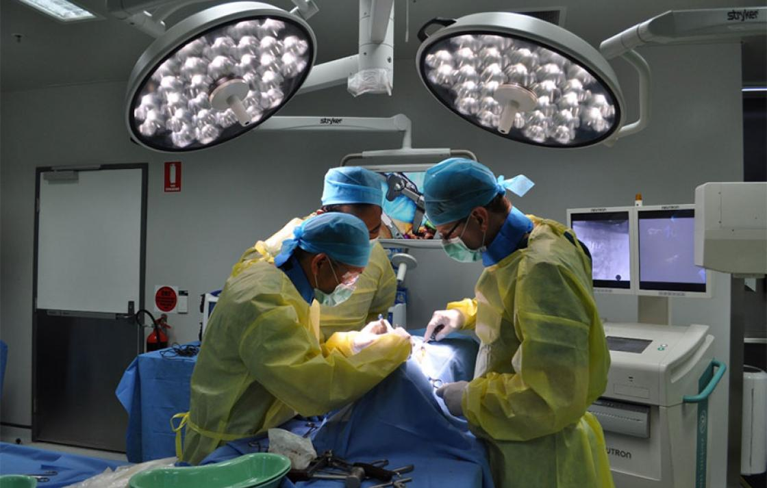 Surgeons in operating theater performing surgery