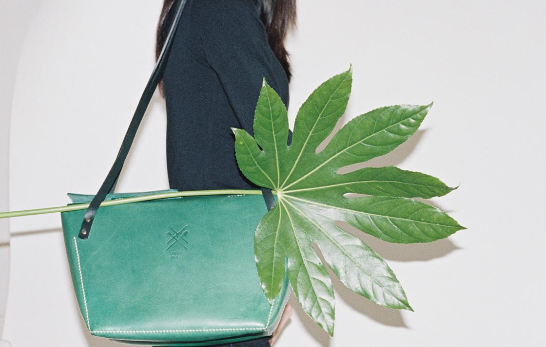 Green shoulder bag and a palm frond.