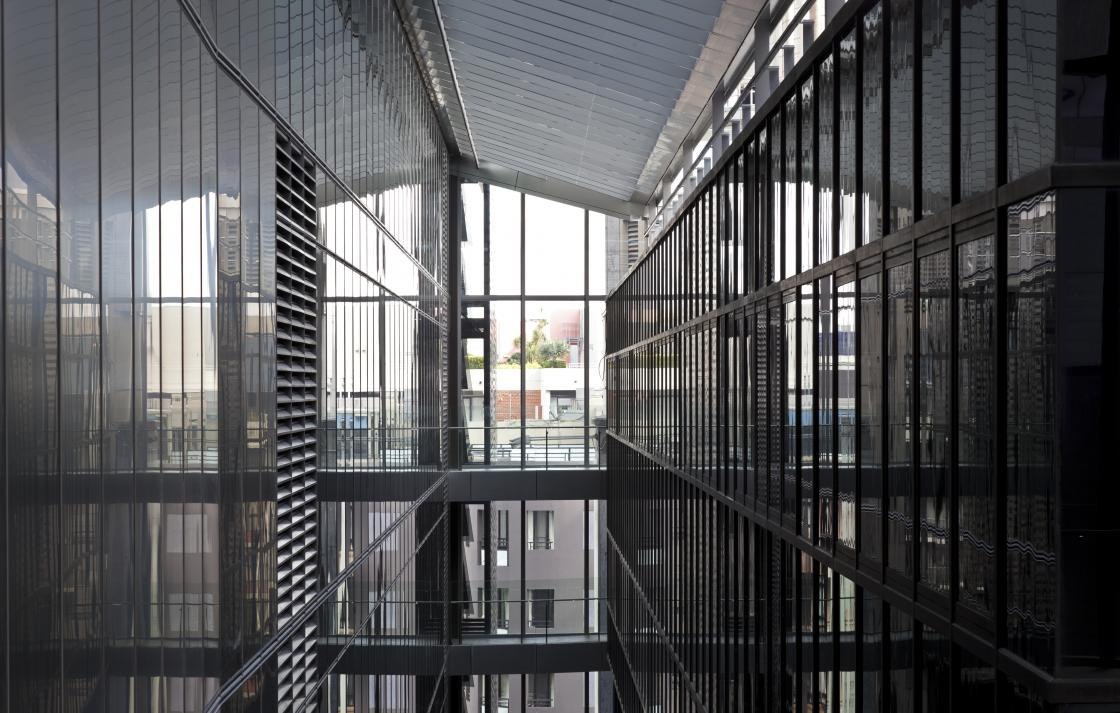 Interior shot of the bridges in the Faculty of Engineering and IT building