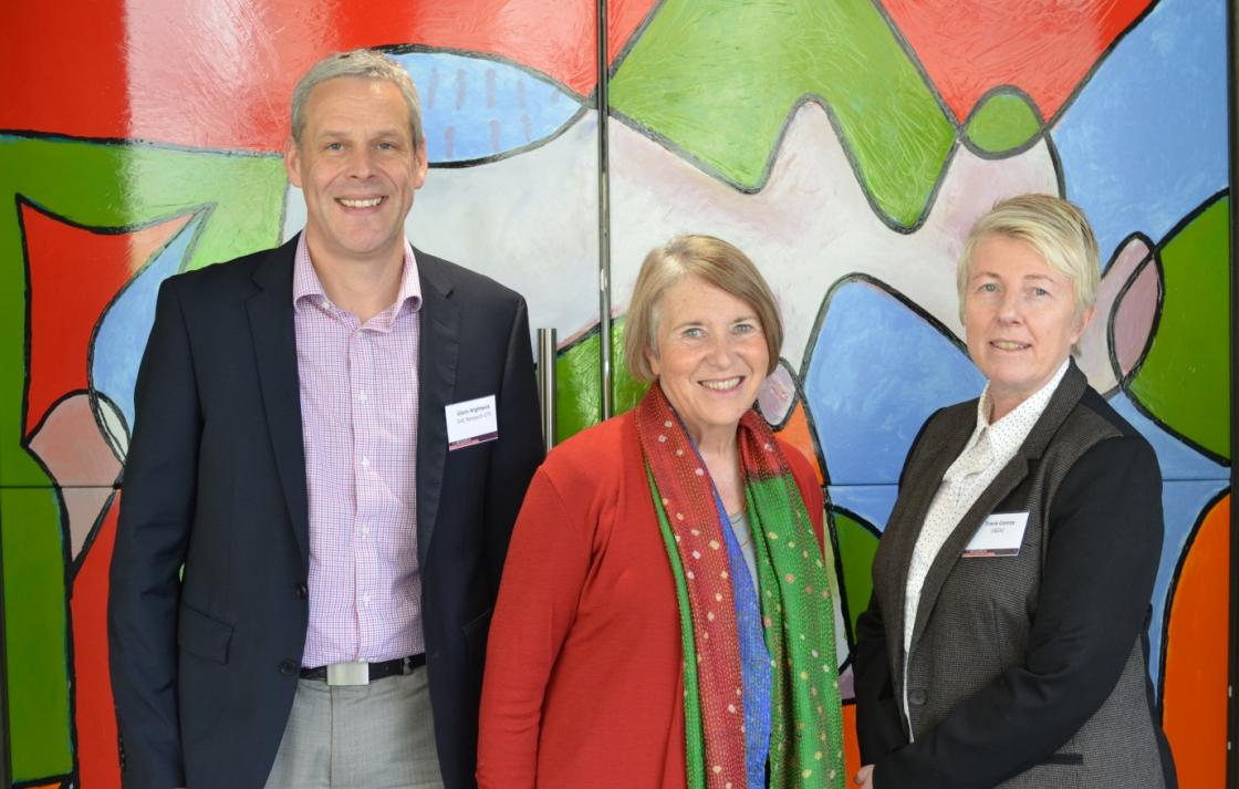 Professor Wightwick (DVCR UTS) , Professor Sharon Bell and Tracie Conroy