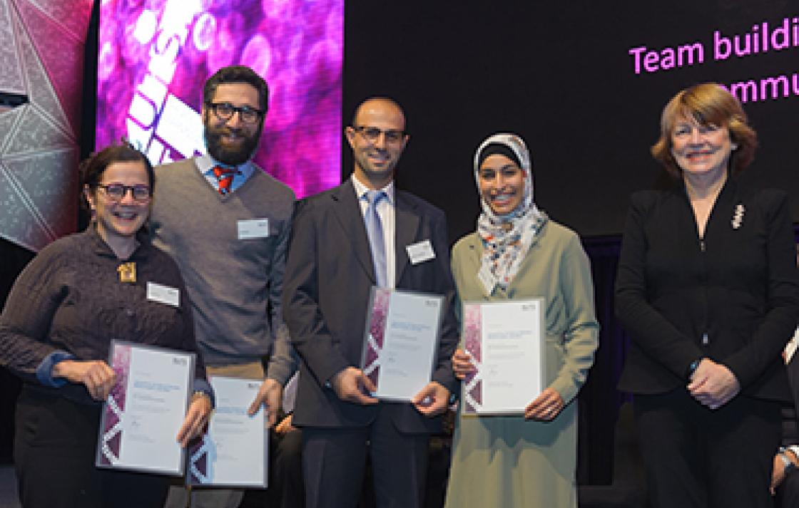 Jenna Price, Cale Bain, Dr Kais al-Momani, Mehal Kreyam and Professor Shirley Alexander.