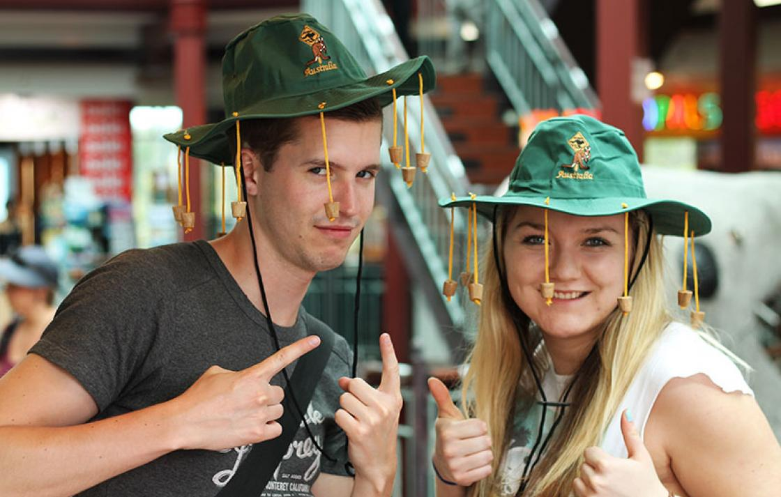 Guy and girl wearing cork hats