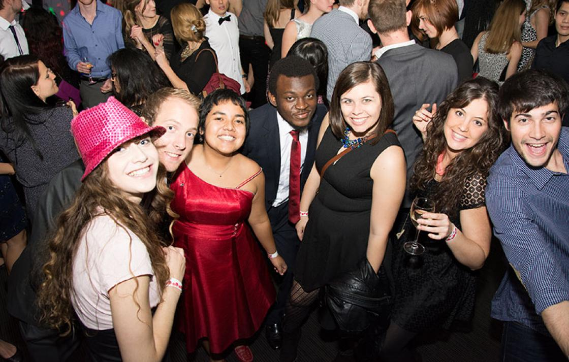 Students in a formal party