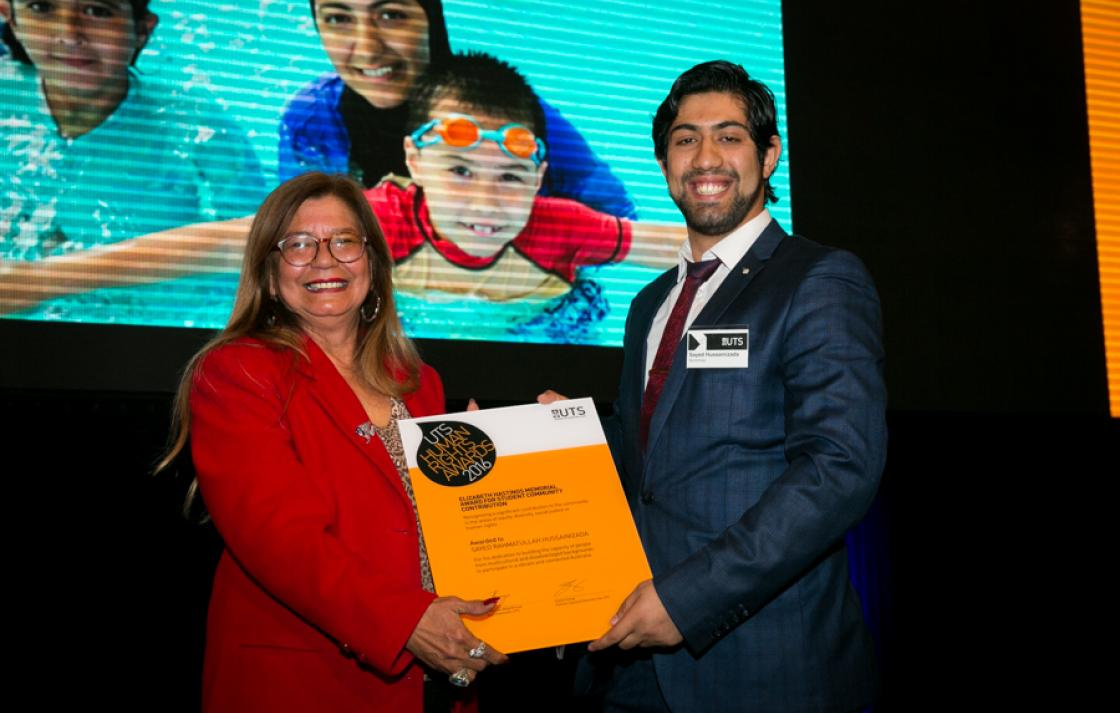 Professor Dudgeon presenting Elizabeth Hastings Award to Sayed Rahmatullah Hussainizada