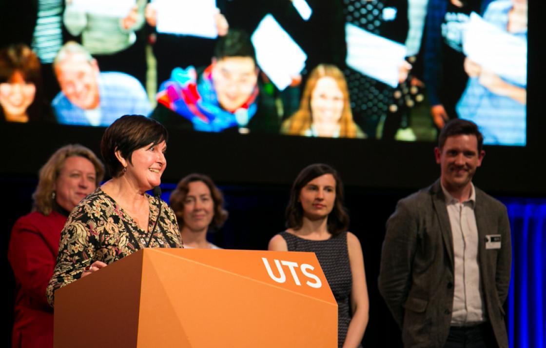 Pauline O'Loughlin accepts Vice Chancellor's Award for UTS Shopfront