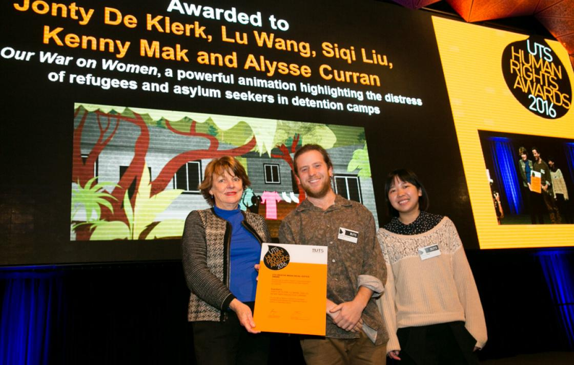 Deputy Vice-Chancellor Professor Shirley Alexander with joint student winners of the Creative Media Award