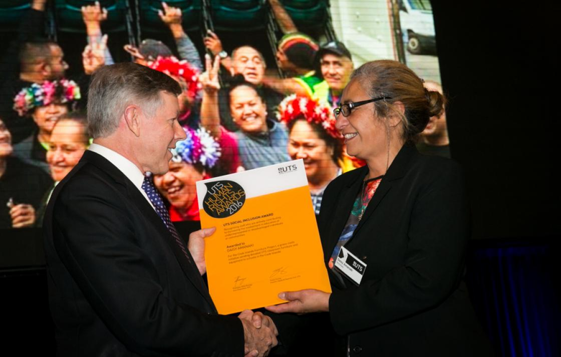Chancellor Brian Wilson and awardee Daisy Amanaki