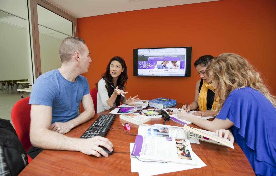 Undergraduate nursing students complete a group assignment in a specially designated student study area
