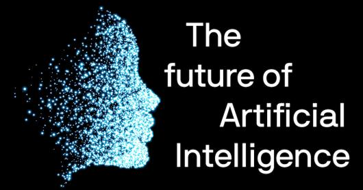 The future of Artificial Intelligence - drawing of a human face (side on) made from glowing blue dots