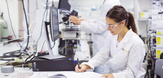 Female scientist researcher in lab
