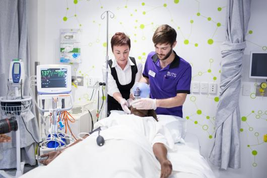 UTS nursing student training in clinical setting