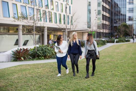 UTS students walking on the grass in front of Graduate School of Health