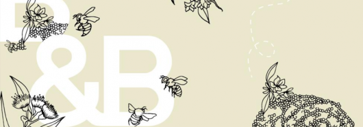 Illustration of bees, a native bee hive and plants