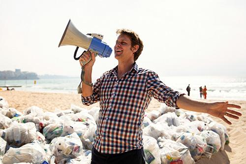 War on Waste host Craig Reucassel on Manly Beach