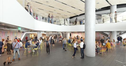An artist's impression of the food court dining hall, a double height atrium filled will colourful furniture and wall-art