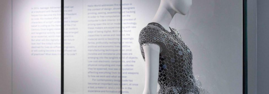 Dress constructed entirley from laser cut acrylic was one of 22 works on display in Hello World - an exhibition at UTS that showed the impact of code on the world. Photo by Jessica Maurer