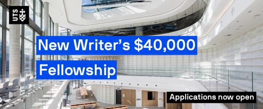 A photo of the new UTS library, with text overlaid reading 'New Writer's $40,000 Fellowship - Applications now open'