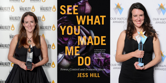 Two images of Jess winning trophies and a book cover of 'see what you made me do'