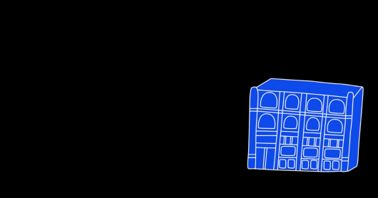 black screen with blue sketch of a building