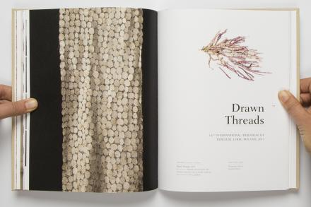 Drawn Threads book, showcasing a DAB staff project, Lace Narrative Monograph