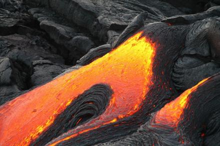 Lava flowing from a volcano