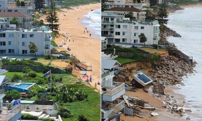 Picture of Collaroy Before and After a coastal storm