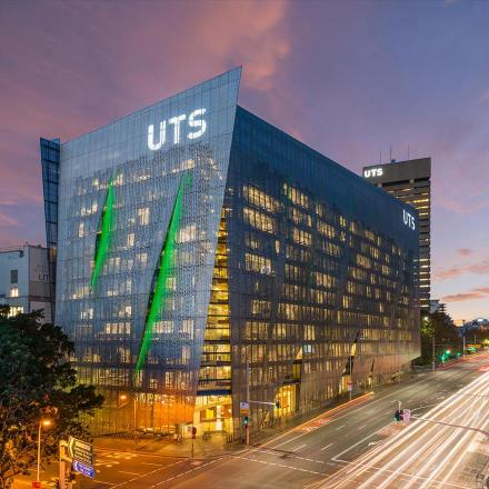 The UTS Faculty of Engineering and IT building at dusk