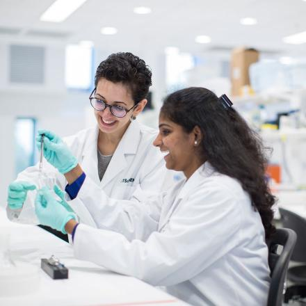 Two Graduate School of Health Phd researchers working in the lab