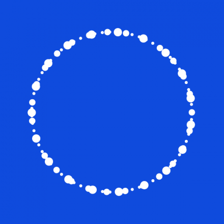 blue back ground white circle