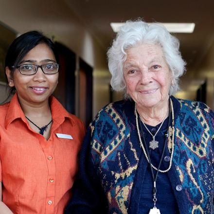 Aged Care carer with elderly woman