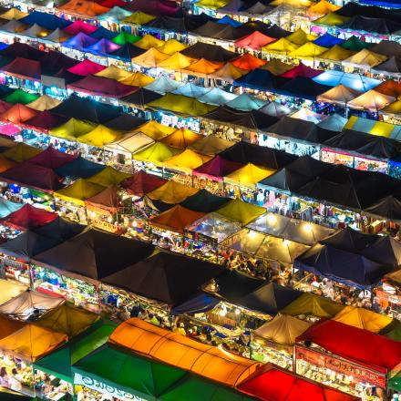Colourful canvas and plastic roofs of street stalls