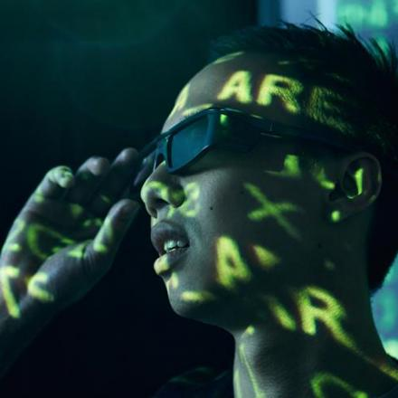 Data projected onto a student while wearing 3D glasses