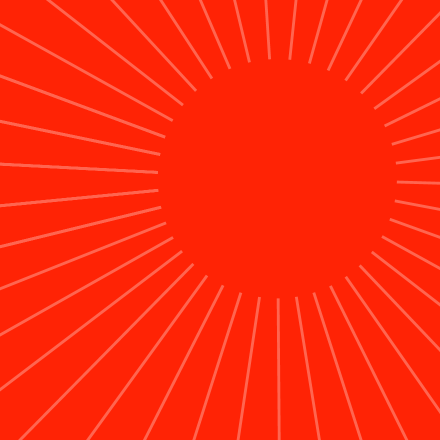 A red background with splayed white lines