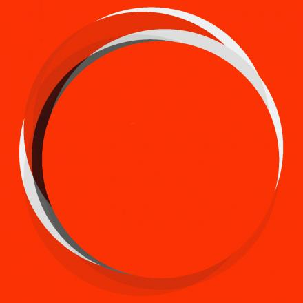 red background with white, grey and black circles