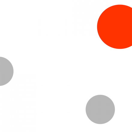white background with two grey circles and one red circle