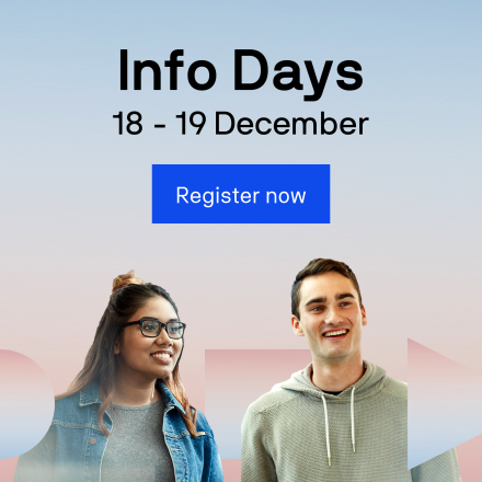 Info Days 18 to 19 December Register now with two students in background