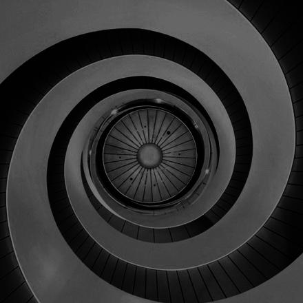 Black and white spiral ceiling