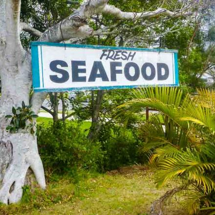 "Photo of a local sign for ""Fresh Seafood"""