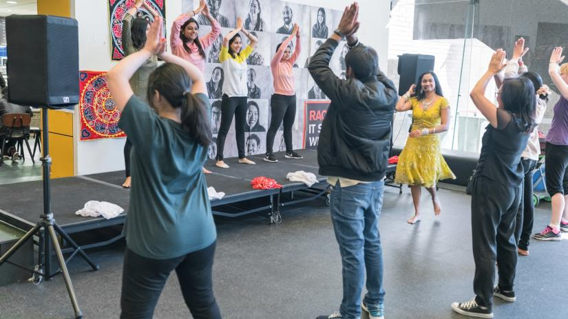 Students dancing during the Bollywood Dance session during Diversity Week 2017