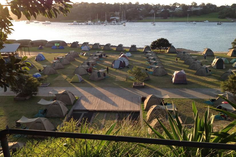 tents on a camping ground in Sydney Harbour