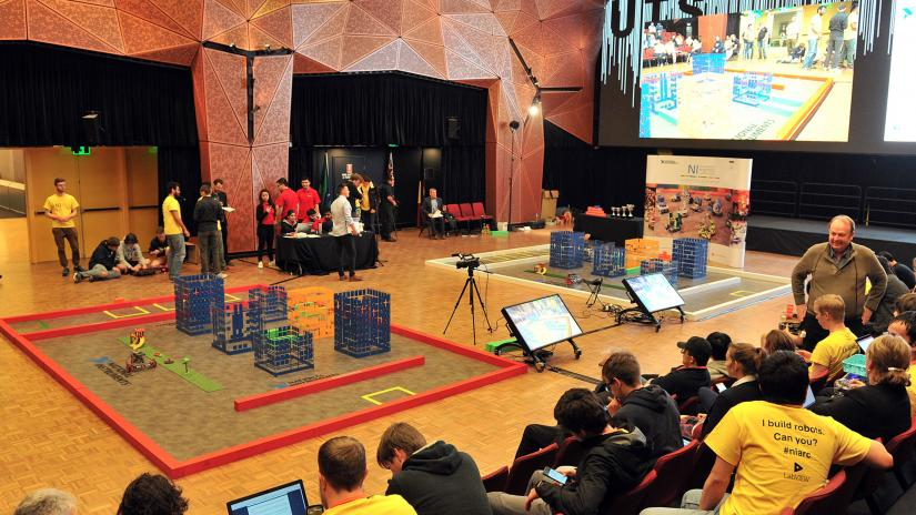 UTS Great Hall, student competitors and spectators sitting on the right, and the course for the competition.