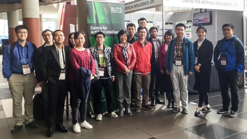 Photo of researchers from the UTS Centre for Artificial Intelligence at the International Joint Conference on Artificial Intelligence 2017