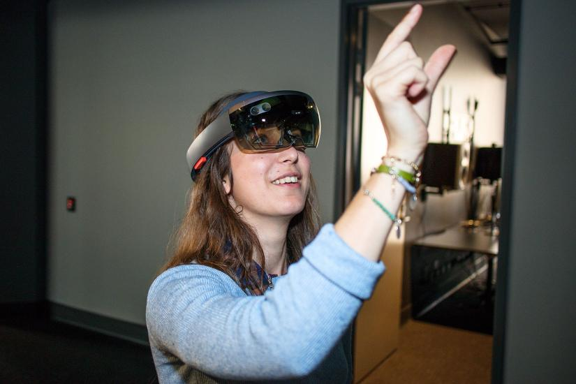 woman with augmented reality headset