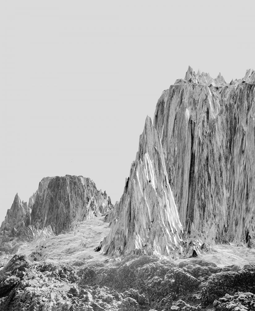 black and white photograph of an icy mountain landscape
